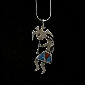 Large Kokopelli Pendant with turquoise & coral
